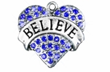 "W1210SC - BLUE CRYSTAL ""BELIEVE"" HEART  $5.68 Each"