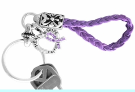 """<br>      W12714KC - GENUINE PURPLE<Br>   AUSTRIAN CRYSTAL AWARENESS<Br>   RIBBON AND """"HEAL HOPE FAITH""""<Br>HEART KEY CHAIN AS LOW AS $3.90"""