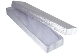 W12766JB - RECTANGULAR SILVER<Br>    COTTON-FILLED JEWELRY BOX<Br>        YOUR LOW PRICE ONLY $.97