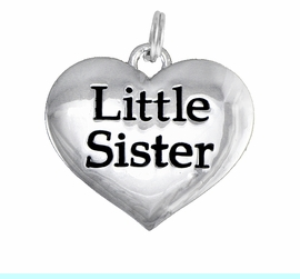 """<BR>      CADMIUM,  LEAD & NICKEL FREE!! <BR>    W1296SC - POLISHED SILVER TONE <BR> """"LITTLE SISTER"""" HEART CHARM $5.08"""