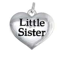 "<BR>      CADMIUM,  LEAD & NICKEL FREE!! <BR>    W1296SC - POLISHED SILVER TONE <BR> ""LITTLE SISTER"" HEART CHARM $5.08"