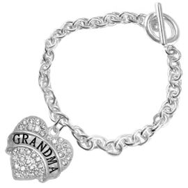 "<bR>                   EXCLUSIVELY OURS!!<Br>             AN ALLAN ROBIN DESIGN!!<BR>    CLICK HERE TO SEE 1000+ EXCITING<BR>       CHANGES THAT YOU CAN MAKE!<BR>       LEAD, NICKEL & CADMIUM FREE!!<BR>W1343SB5 - AUSTRIAN CRYSTAL ""GRANDMA"" <BR> HEART CHARM & TOGGLE CLASP BRACELET <BR>           FROM $5.40 TO $9.85 �2012"