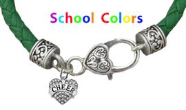 CHEERLEADER GENUINE GREEN LEATHER BRACELET WITH ANTIQUE <BR>CLASP WITH GENUINE CRYSTAL JUMPING CHEERLEADER<BR>NICKEL, LEAD, AND POISONOUS CADMIUM FREE<BR>IT IS WHAT YOU DO NOT SEE THAT MATTERS�<BR>W1408B35  $13.38 EACH �2020