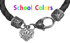CHEERLEADER GENUINE BLACK LEATHER BRACELET WITH ANTIQUE <BR>CLASP WITH GENUINE CRYSTAL HEART CHARM<BR>NICKEL, LEAD, AND POISONOUS CADMIUM FREE<BR>IT IS WHAT YOU DO NOT SEE THAT MATTERS�<BR>W1408B37  $13.38 EACH �2020