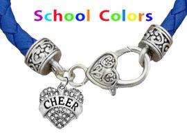 CHEERLEADER GENUINE BLUE LEATHER BRACELET WITH ANTIQUE <BR>CLASP WITH GENUINE CRYSTAL CHEER HEART CHARM<BR>NICKEL, LEAD, AND POISONOUS CADMIUM FREE<BR>IT IS WHAT YOU DO NOT SEE THAT MATTERS�<BR>W1408B38  $13.38 EACH �2020