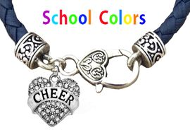 CHEERLEADER GENUINE NAVY LEATHER BRACELET WITH ANTIQUE <BR>CLASP WITH GENUINE CRYSTAL JUMPING CHEERLEADER<BR>NICKEL, LEAD, AND POISONOUS CADMIUM FREE<BR>IT IS WHAT YOU DO NOT SEE THAT MATTERS�<BR>W1408B39  $13.38 EACH �2020