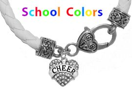 CHEERLEADER GENUINE WHITE LEATHER BRACELET WITH ANTIQUE <BR>CLASP WITH GENUINE CRYSTAL HEART CHARM<BR>NICKEL, LEAD, AND POISONOUS CADMIUM FREE<BR>IT IS WHAT YOU DO NOT SEE THAT MATTERS�<BR>W1408B44  $13.38 EACH �2020