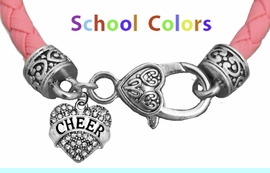 CHEERLEADER GENUINE PINK LEATHER BRACELET WITH ANTIQUE <BR>CLASP WITH GENUINE CRYSTAL HEART CHARM<BR>NICKEL, LEAD, AND POISONOUS CADMIUM FREE<BR>IT IS WHAT YOU DO NOT SEE THAT MATTERS�<BR>W1408B46  $13.38 EACH �2020