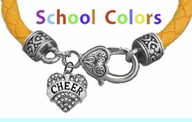 CHEERLEADER GENUINE GOLD LEATHER BRACELET WITH ANTIQUE <BR>CLASP WITH GENUINE CRYSTAL HEART CHARM<BR>NICKEL, LEAD, AND POISONOUS CADMIUM FREE<BR>IT IS WHAT YOU DO NOT SEE THAT MATTERS�<BR>W1408B47  $13.38 EACH �2020