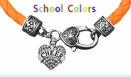 GENUINE ORANGE LEATHER BRACELET WITH ANTIQUE <BR>CLASP WITH GENUINE CRYSTAL HEART CHARM<BR>NICKEL, LEAD, AND POISONOUS CADMIUM FREE<BR>IT IS WHAT YOU DO NOT SEE THAT MATTERS�<BR>W1408B48  $13.38 EACH �2020W