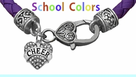 CHEERLEADER GENUINE PURPLE LEATHER BRACELET WITH ANTIQUE <BR>CLASP WITH GENUINE CRYSTAL HEART CHARM<BR>NICKEL, LEAD, AND POISONOUS CADMIUM FREE<BR>IT IS WHAT YOU DO NOT SEE THAT MATTERS�<BR>W1408B50  $13.38 EACH �2020