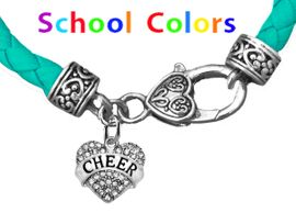 CHEERLEADER GENUINE TURQUOISE LEATHER BRACELET WITH ANTIQUE <BR>CLASP WITH GENUINE CRYSTAL JUMPING CHEERLEADER<BR>NICKEL, LEAD, AND POISONOUS CADMIUM FREE<BR>IT IS WHAT YOU DO NOT SEE THAT MATTERS�<BR>W1408B51  $13.38 EACH �2020