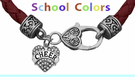 CHEERLEADER GENUINE MAROON/DEEP RED LEATHER BRACELET WITH ANTIQUE <BR>CLASP WITH GENUINE CRYSTAL JUMPING CHEERLEADER<BR>NICKEL, LEAD, AND POISONOUS CADMIUM FREE<BR>IT IS WHAT YOU DO NOT SEE THAT MATTERS�<BR>W1408B52  $13.38 EACH �2020