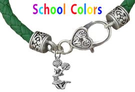CHEERLEADER GENUINE GREEN LEATHER BRACELET WITH ANTIQUE <BR>CLASP WITH GENUINE CRYSTAL JUMPING CHEERLEADER<BR>NICKEL, LEAD, AND POISONOUS CADMIUM FREE<BR>IT IS WHAT YOU DO NOT SEE THAT MATTERS�<BR>W1409B35  $13.38 EACH �2020