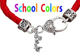 CHEERLEADER GENUINE RED LEATHER BRACELET WITH ANTIQUE <BR>CLASP WITH GENUINE CRYSTAL JUMPING CHEERLEADER<BR>NICKEL, LEAD, AND POISONOUS CADMIUM FREE<BR>IT IS WHAT YOU DO NOT SEE THAT MATTERS�<BR>W1409B36  $13.38 EACH �2020