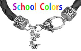 CHEERLEADER GENUINE BLACK LEATHER BRACELET WITH ANTIQUE <BR>CLASP WITH GENUINE CRYSTAL JUMPING CHEERLEADER<BR>NICKEL, LEAD, AND POISONOUS CADMIUM FREE<BR>IT IS WHAT YOU DO NOT SEE THAT MATTERS�<BR>W1409B37  $13.38 EACH �2020