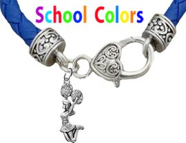 CHEERLEADER GENUINE BLUE LEATHER BRACELET WITH ANTIQUE <BR>CLASP WITH GENUINE CRYSTAL JUMPING CHEERLEADER<BR>NICKEL, LEAD, AND POISONOUS CADMIUM FREE<BR>IT IS WHAT YOU DO NOT SEE THAT MATTERS�<BR>W1409B38  $13.38 EACH �2020