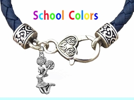 CHEERLEADER GENUINE NAVY LEATHER BRACELET WITH ANTIQUE <BR>CLASP WITH GENUINE CRYSTAL JUMPING CHEERLEADER<BR>NICKEL, LEAD, AND POISONOUS CADMIUM FREE<BR>IT IS WHAT YOU DO NOT SEE THAT MATTERS�<BR>W1409B39  $13.38 EACH �2020