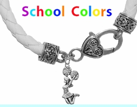 CHEERLEADER GENUINE WHITE LEATHER BRACELET WITH ANTIQUE <BR>CLASP WITH GENUINE CRYSTAL JUMPING CHEERLEADER<BR>NICKEL, LEAD, AND POISONOUS CADMIUM FREE<BR>IT IS WHAT YOU DO NOT SEE THAT MATTERS�<BR>W1409B44  $13.38 EACH �2020