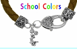 CHEERLEADER GENUINE BROWN LEATHER BRACELET WITH ANTIQUE <BR>CLASP WITH GENUINE CRYSTAL JUMPING CHEERLEADER<BR>NICKEL, LEAD, AND POISONOUS CADMIUM FREE<BR>IT IS WHAT YOU DO NOT SEE THAT MATTERS�<BR>W1409B45  $13.38 EACH �2020