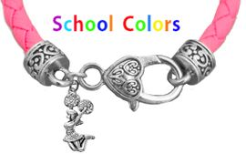 CHEERLEADER GENUINE PINK LEATHER BRACELET WITH ANTIQUE <BR>CLASP WITH GENUINE CRYSTAL JUMPING CHEERLEADER<BR>NICKEL, LEAD, AND POISONOUS CADMIUM FREE<BR>IT IS WHAT YOU DO NOT SEE THAT MATTERS�<BR>W1409B46  $13.38 EACH �2020
