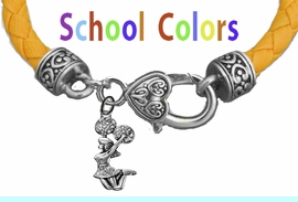CHEERLEADER GENUINE GOLD LEATHER BRACELET WITH ANTIQUE <BR>CLASP WITH GENUINE CRYSTAL JUMPING CHEERLEADER<BR>NICKEL, LEAD, AND POISONOUS CADMIUM FREE<BR>IT IS WHAT YOU DO NOT SEE THAT MATTERS�<BR>W1409B47  $13.38 EACH �2020