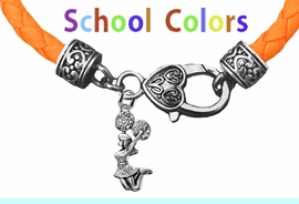CHEERLEADER GENUINE ORANGE LEATHER BRACELET WITH ANTIQUE <BR>CLASP WITH GENUINE CRYSTAL JUMPING CHEERLEADER<BR>NICKEL, LEAD, AND POISONOUS CADMIUM FREE<BR>IT IS WHAT YOU DO NOT SEE THAT MATTERS�<BR>W1409B48  $13.38 EACH �2020W
