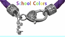 CHEERLEADER GENUINE PURPLE LEATHER BRACELET WITH ANTIQUE <BR>CLASP WITH GENUINE CRYSTAL JUMPING CHEERLEADER<BR>NICKEL, LEAD, AND POISONOUS CADMIUM FREE<BR>IT IS WHAT YOU DO NOT SEE THAT MATTERS�<BR>W1409B50  $13.38 EACH �2020