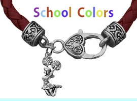 CHEERLEADER GENUINE MAROON/DEEP RED LEATHER BRACELET WITH ANTIQUE <BR>CLASP WITH GENUINE CRYSTAL JUMPING CHEERLEADER<BR>NICKEL, LEAD, AND POISONOUS CADMIUM FREE<BR>IT IS WHAT YOU DO NOT SEE THAT MATTERS�<BR>W1409B52  $13.38 EACH �2020