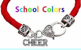 CHEERLEADER GENUINE RED LEATHER BRACELET WITH ANTIQUE <BR>CLASP WITH GENUINE CRYSTAL CHEER CHARM<BR>NICKEL, LEAD, AND POISONOUS CADMIUM FREE<BR>IT IS WHAT YOU DO NOT SEE THAT MATTERS�<BR>W1410B36  $13.38 EACH �2020