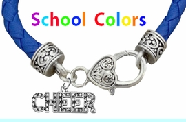 CHEERLEADER GENUINE BLUE LEATHER BRACELET WITH ANTIQUE <BR>CLASP WITH GENUINE CRYSTAL CHEER CHARM<BR>NICKEL, LEAD, AND POISONOUS CADMIUM FREE<BR>IT IS WHAT YOU DO NOT SEE THAT MATTERS�<BR>W1410B38  $13.38 EACH �2020