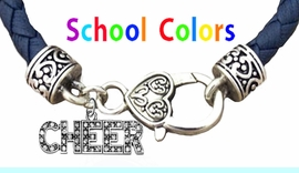 CHEERLEADER GENUINE NAVY LEATHER BRACELET WITH ANTIQUE <BR>CLASP WITH GENUINE CRYSTAL JUMPING CHEERLEADER<BR>NICKEL, LEAD, AND POISONOUS CADMIUM FREE<BR>IT IS WHAT YOU DO NOT SEE THAT MATTERS�<BR>W1410B39  $13.38 EACH �2020