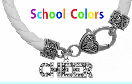 CHEERLEADER GENUINE WHITE LEATHER BRACELET WITH ANTIQUE <BR>CLASP WITH GENUINE CRYSTALCHEER CHARM<BR>NICKEL, LEAD, AND POISONOUS CADMIUM FREE<BR>IT IS WHAT YOU DO NOT SEE THAT MATTERS�<BR>W1410B44  $13.38 EACH �2020