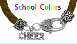 CHEERLEADER GENUINE BROWN LEATHER BRACELET WITH ANTIQUE <BR>CLASP WITH GENUINE CRYSTAL JUMPING CHEERLEADER<BR>NICKEL, LEAD, AND POISONOUS CADMIUM FREE<BR>IT IS WHAT YOU DO NOT SEE THAT MATTERS�<BR>W1410B45  $13.38 EACH �2020