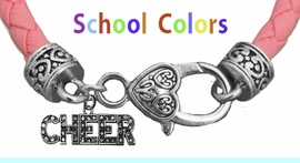 CHEERLEADER GENUINE PINK LEATHER BRACELET WITH ANTIQUE <BR>CLASP WITH GENUINE CRYSTAL CHEER CHARM<BR>NICKEL, LEAD, AND POISONOUS CADMIUM FREE<BR>IT IS WHAT YOU DO NOT SEE THAT MATTERS�<BR>W1410B46  $13.38 EACH �2020
