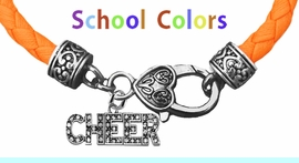 CHEERLEADER GENUINE ORANGE LEATHER BRACELET WITH ANTIQUE <BR>CLASP WITH GENUINE CRYSTAL CHEER CHARM<BR>NICKEL, LEAD, AND POISONOUS CADMIUM FREE<BR>IT IS WHAT YOU DO NOT SEE THAT MATTERS�<BR>W1410B48  $13.38 EACH �2020W