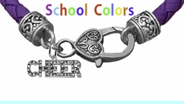 CHEERLEADER GENUINE PURPLE LEATHER BRACELET WITH ANTIQUE <BR>CLASP WITH GENUINE CRYSTAL CHEER CHARM<BR>NICKEL, LEAD, AND POISONOUS CADMIUM FREE<BR>IT IS WHAT YOU DO NOT SEE THAT MATTERS�<BR>W1410B50  $13.38 EACH �2020