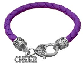 Genuine Purple Leather Crystal Cheerleader Bracelet