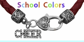 CHEERLEADER GENUINE MAROON/DEEP RED LEATHER BRACELET WITH ANTIQUE <BR>CLASP WITH GENUINE CRYSTAL JUMPING CHEERLEADER<BR>NICKEL, LEAD, AND POISONOUS CADMIUM FREE<BR>IT IS WHAT YOU DO NOT SEE THAT MATTERS�<BR>W1410B52  $13.38 EACH �2020