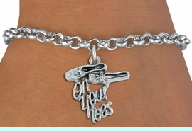 """<bR> WHOLESALE FASHION BALLET ARM JEWELRY! <BR>                AN ALLAN ROBIN DESIGN! <BR>      CLICK HERE TO SEE 1500+ EXCITING <BR>            CHANGES THAT YOU CAN MAKE! <BR>          LEAD, NICKEL & CADMIUM FREE! <BR> W1413SB2 - """"ON YOUR TOES"""" BALLET SHOE <BR>    SILVER TONE CHARM ON LOBSTER CLASP <Br>    BRACELET FROM $4.15 TO $8.00 �2015"""