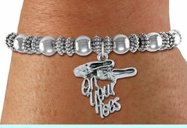 """<bR>   WHOLESALE FASHION BALLET CHARM BRACELET   <BR>                        EXCLUSIVELY OURS!!   <BR>                   AN ALLAN ROBIN DESIGN!!   <BR>             CADMIUM, LEAD & NICKEL FREE!!   <BR>    W1413SB6 - """"ON YOUR TOES"""" BALLET SHOES  <BR>      SILVER TONE CHARM ON DETAILED BEADED   <BR>STRETCH BRACELET FROM $4.40 TO $9.20 �2015"""