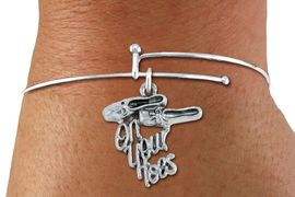 """<bR>    WHOLESALE FASHION DANCE CHARM BRACELET   <BR>                        EXCLUSIVELY OURS!!   <BR>                   AN ALLAN ROBIN DESIGN!!   <BR>             CADMIUM, LEAD & NICKEL FREE!!   <BR>    W1413SB9 - """"ON YOUR TOES"""" BALLET SHOES  <BR>SILVER TONE CHARM ON ADJUSTABLE SOLID WIRE   <BR>        BRACELET FROM $4.40 TO $9.20 �2015"""