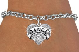 "<BR>              DANCE BRACELET<bR>                EXCLUSIVELY OURS!! <Br>           AN ALLAN ROBIN DESIGN!! <BR>  CLICK HERE TO SEE 1000+ EXCITING <BR>        CHANGES THAT YOU CAN MAKE! <BR>     LEAD, NICKEL & CADMIUM FREE!! <BR> W1414SB - SILVER TONE ""DANCE"" CLEAR <BR>    CRYSTAL HEART CHARM & BRACELET <BR>                   $9.68 EACH  �2013"