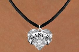 """<BR>                        DANCE NECKLACE<bR>                   EXCLUSIVELY OURS!! <Br>              AN ALLAN ROBIN DESIGN!! <BR>     CLICK HERE TO SEE 1000+ EXCITING <BR>           CHANGES THAT YOU CAN MAKE! <BR>        LEAD, NICKEL & CADMIUM FREE!! <BR>  W1414N3 - SILVER TONE """"DANCE"""" CLEAR <BR>     CRYSTAL HEART CHARM AND NECKLACE <BR>                       $9.38 EACH  �2013"""