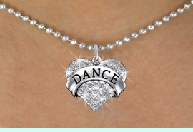 """<BR>      WHOLESALE DANCE NECKLACE<bR>                   EXCLUSIVELY OURS!! <Br>              AN ALLAN ROBIN DESIGN!! <BR>     CLICK HERE TO SEE 1000+ EXCITING <BR>           CHANGES THAT YOU CAN MAKE! <BR>        LEAD, NICKEL & CADMIUM FREE!! <BR>  W1414SN - SILVER TONE """"DANCE"""" CLEAR <BR>     CRYSTAL HEART CHARM AND NECKLACE <BR>            FROM $5.40 TO $9.85 �2013"""