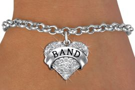 "<bR>                       EXCLUSIVELY OURS!! <Br>                  AN ALLAN ROBIN DESIGN!! <BR>ADJUSTABLE, LEAD, NICKEL & CADMIUM FREE!! <BR>         W1416B2 - SILVER TONE ""BAND"" CLEAR <BR>           CRYSTAL HEART CHARM & BRACELET <BR>                              $9.38 EACH �2013"