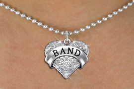 "<BR>             SCHOOL BAND NECKLACE<bR>                   EXCLUSIVELY OURS!! <Br>              AN ALLAN ROBIN DESIGN!! <BR>        LEAD, NICKEL & CADMIUM FREE!! <BR>W1416SN - SILVER TONE ""BAND"" CLEAR <BR>  CRYSTAL HEART CHARM AND NECKLACE <BR>                         $9.68 EACH  �2013"