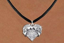 "<BR>             SCHOOL BAND  NECKLACE<bR>                   EXCLUSIVELY OURS!! <Br>              AN ALLAN ROBIN DESIGN!! <BR>        LEAD, NICKEL & CADMIUM FREE!! <BR>    W1416N3 - SILVER TONE ""BAND"" CLEAR <BR>     CRYSTAL HEART CHARM AND NECKLACE <BR>                         $9.68 EACH �2013"