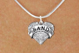 "<BR>                 SCHOOL BAND NECKLACE<bR>                   EXCLUSIVELY OURS!! <Br>              AN ALLAN ROBIN DESIGN! <BR>        LEAD, NICKEL & CADMIUM FREE!! <BR>    W1416N2 - SILVER TONE ""BAND"" CLEAR <BR>     CRYSTAL HEART CHARM AND NECKLACE <BR>                         $9.68 EACH �2013"