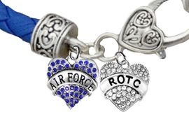 <BR><B>AIR FORCE GENUINE CRYSTAL ROTC BRACELET</B><br>      <br>GENUINE AIR FORCE BLUE WOVEN LEATHER BRACELET <BR>NICKEL, LEAD, AND POISONOUS CADMIUM FREE<br>W1477-1788B38 $14.68 EACH  �2019
